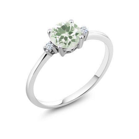 10K White Gold Ring Round Green Prasiolite White Created Sapphire (0.98 cttw)