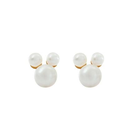 Disney Mickey Mouse 10kt Yellow Gold Pearl Stud Earrings Disney Hoop Earring