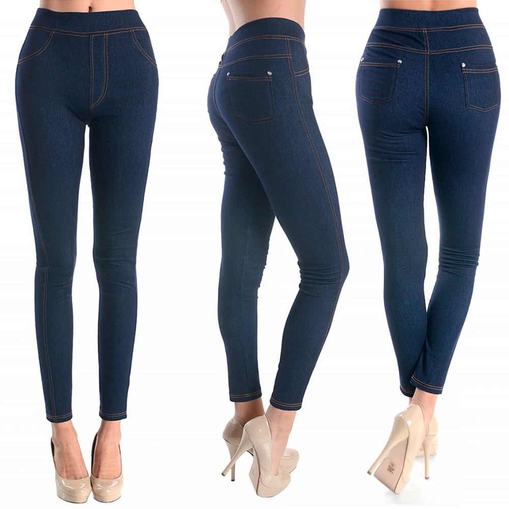 Women Skinny Jegging Blue Stretchy Sexy Pants Pencil Leggings Jeans Soft SM L XL