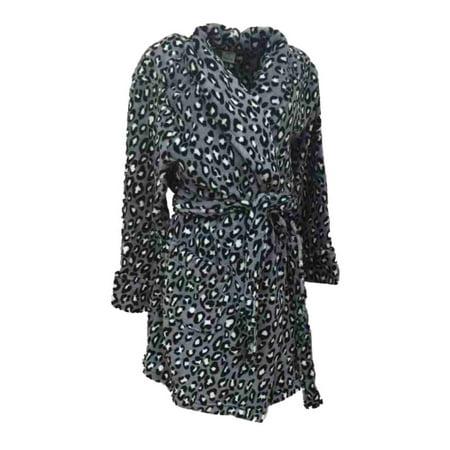 Croft & Barrow Womens Soft Plush Gray & Black Leopard Print Robe Housecoat XL