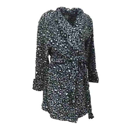 Croft & Barrow Womens Soft Plush Gray & Black Leopard Print Robe Housecoat