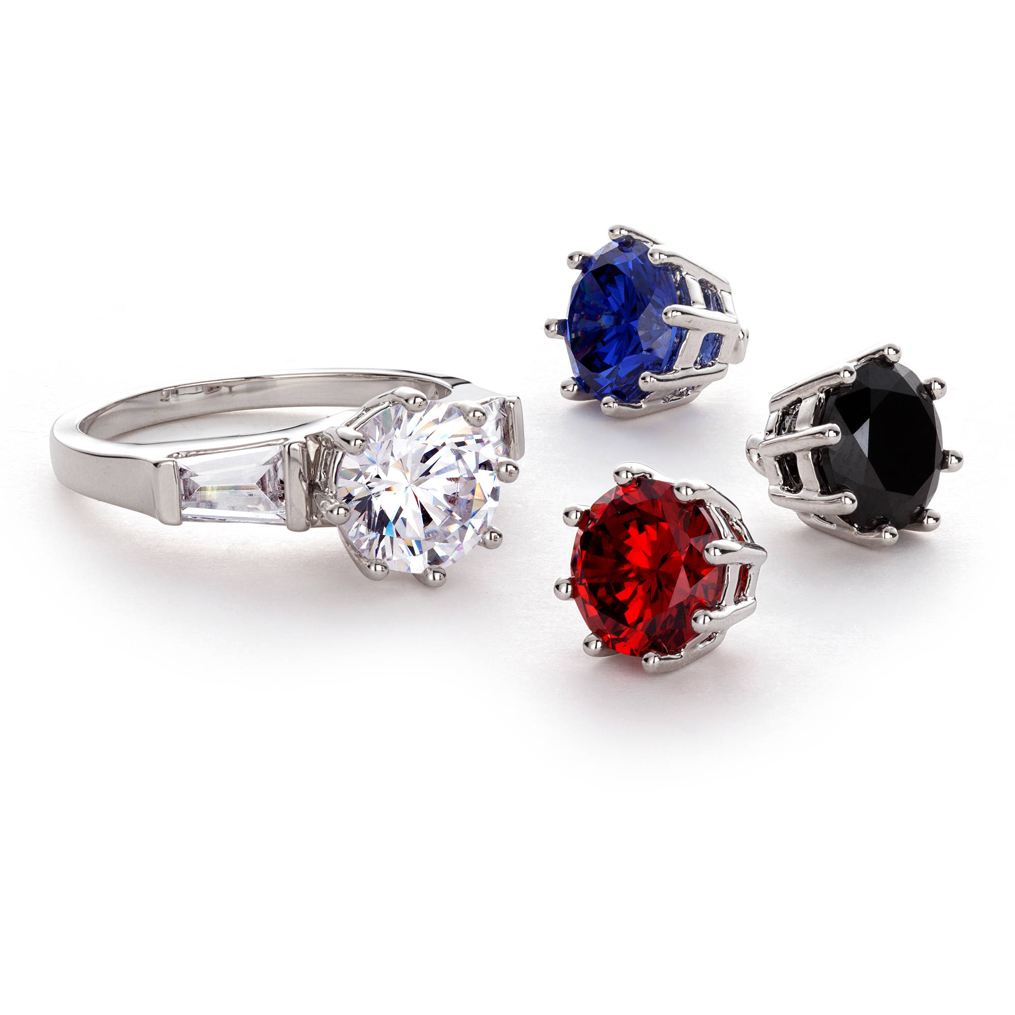 Round and Baguette CZ Rhodium-Plated Styleshifter Jeweltone Ring