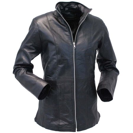 Long Lambskin Leather Jacket with Zip Through Butterfly Collar #L1401302ZL