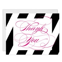 Classic Bold Beautiful Script Thank You Notecards with Envelopes ( Pack of 25 ) All Occasion Folded Blank Calligraphy Thank You Cards 21st Birthday Grad Wedding Thanks Gracias Excellent Value VT0026B
