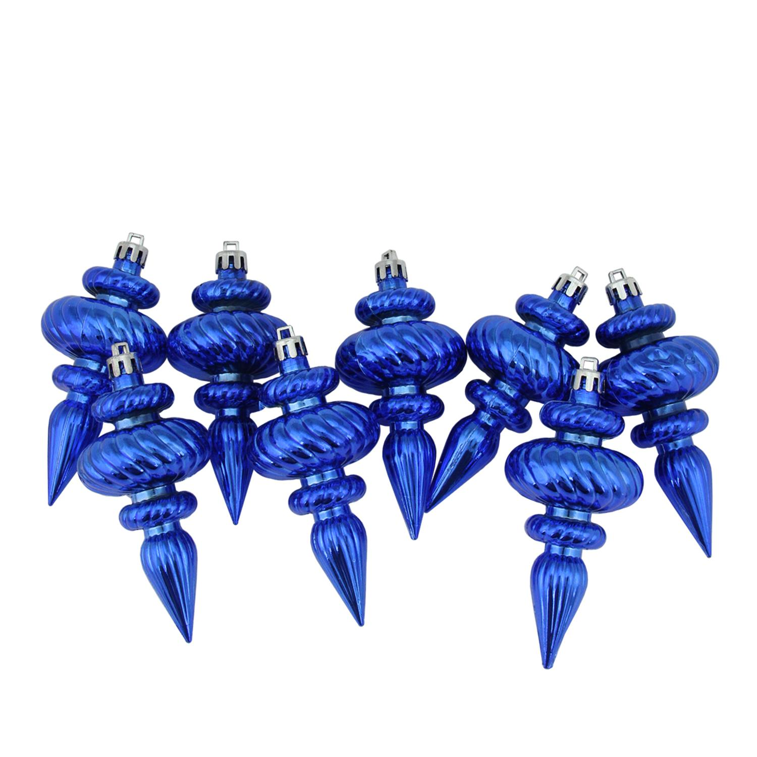 8ct Lavish Blue Shatterproof Shiny Ribbed Christmas Finial Ornaments 4.25""