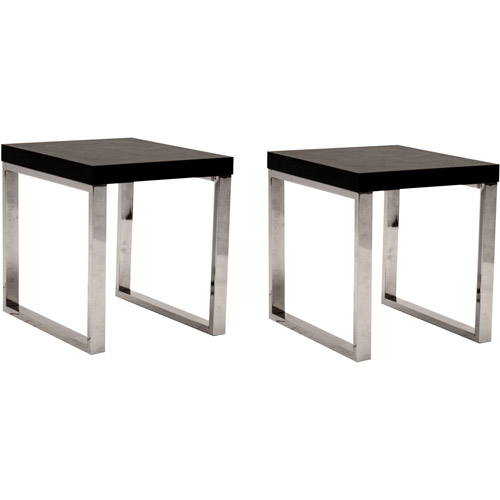 Ronne End Tables, Set of 2, Black and Chrome
