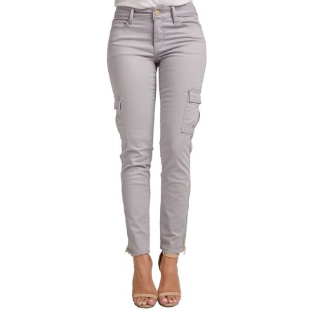 - Miss Halladay Women's Stretch Twill Skinny Cargo Jeans Ankle Length Zip Bottom