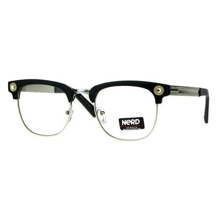 e019be4ce78f Rhinestone Jewel Half Rim Hipster Clear Lens Nerd Eye Glasses Black Silver  - Walmart.com