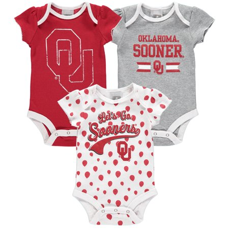 Girls Newborn & Infant Russell Crimson Oklahoma Sooners Three-Pack Bodysuit Set (Oklahoma Sooners Infant Two Piece)