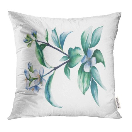 YWOTA Blue Flower Branch of White Jasmine Watercolor Green Paint Summer Cosmetic Plant Pillow Cases Cushion Cover 18x18 - Jasmine Flower Plant