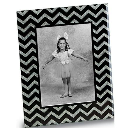 Black & Silver Glass 5x7 Photo Frame (8mm (Designer Glass Frames)