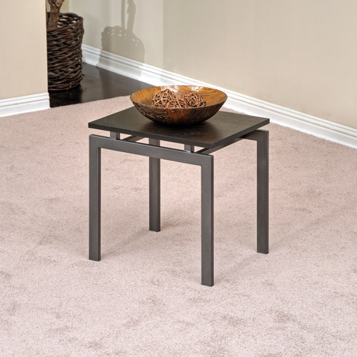 Hometrends End Table, Dark Gray/Black Ash