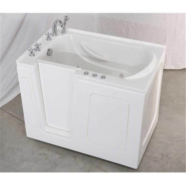 G-Vision Bathware AE4730SLW AquaEze 47 x 30 Soaker Left-Hand Door White Walk-In Tub