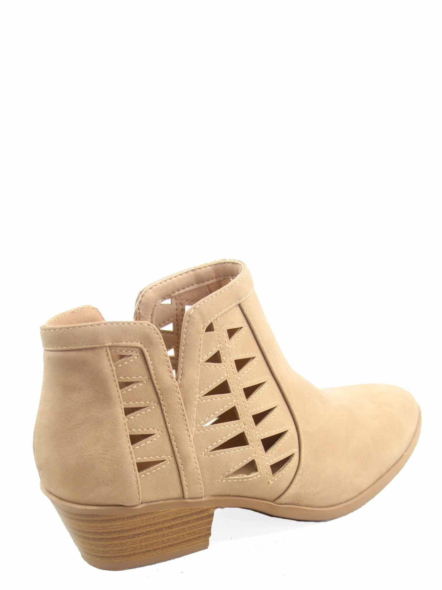 Chance-s Women's Fashion Zip Chunky Low Heel Ankle Booties Shoes