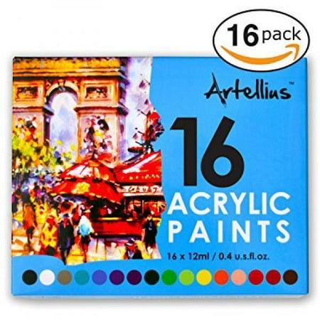 Artellius Acrylic Paint Set 16 Individual Colors Non