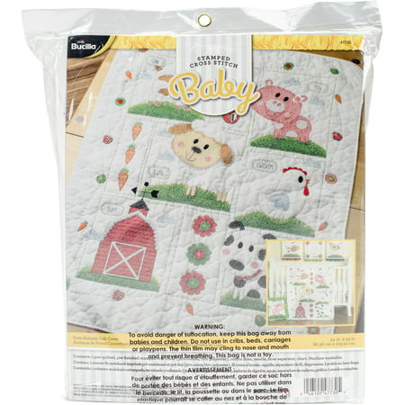 "Bucilla Stamped Crib Cover Cross Stitch Kit 34""X43""-Farm Animals"