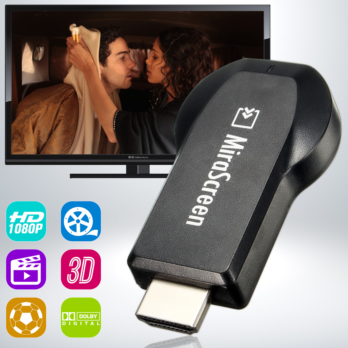 150Mbps 2.4G WiFi Display Dongle TV Stick Wireless Miracast AnyCast 3D Full HD 1080P DLNA Air play Receiver Adapter for TV/IOS/Android Smartphone