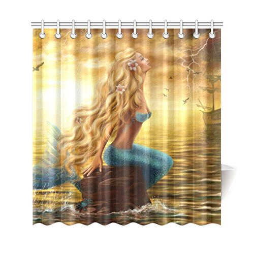 GCKG Princess Sea Mermaid Ghost Ship Polyester Fabric Shower Curtain Bathroom Sets Home Decor 66x72 Inches