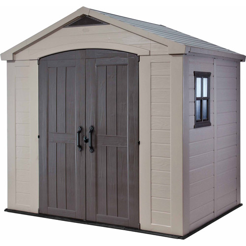 Keter Factor 8' x 6' Resin Storage Shed, All-Weather Plastic Outdoor Storage, Beige Taupe by Generic