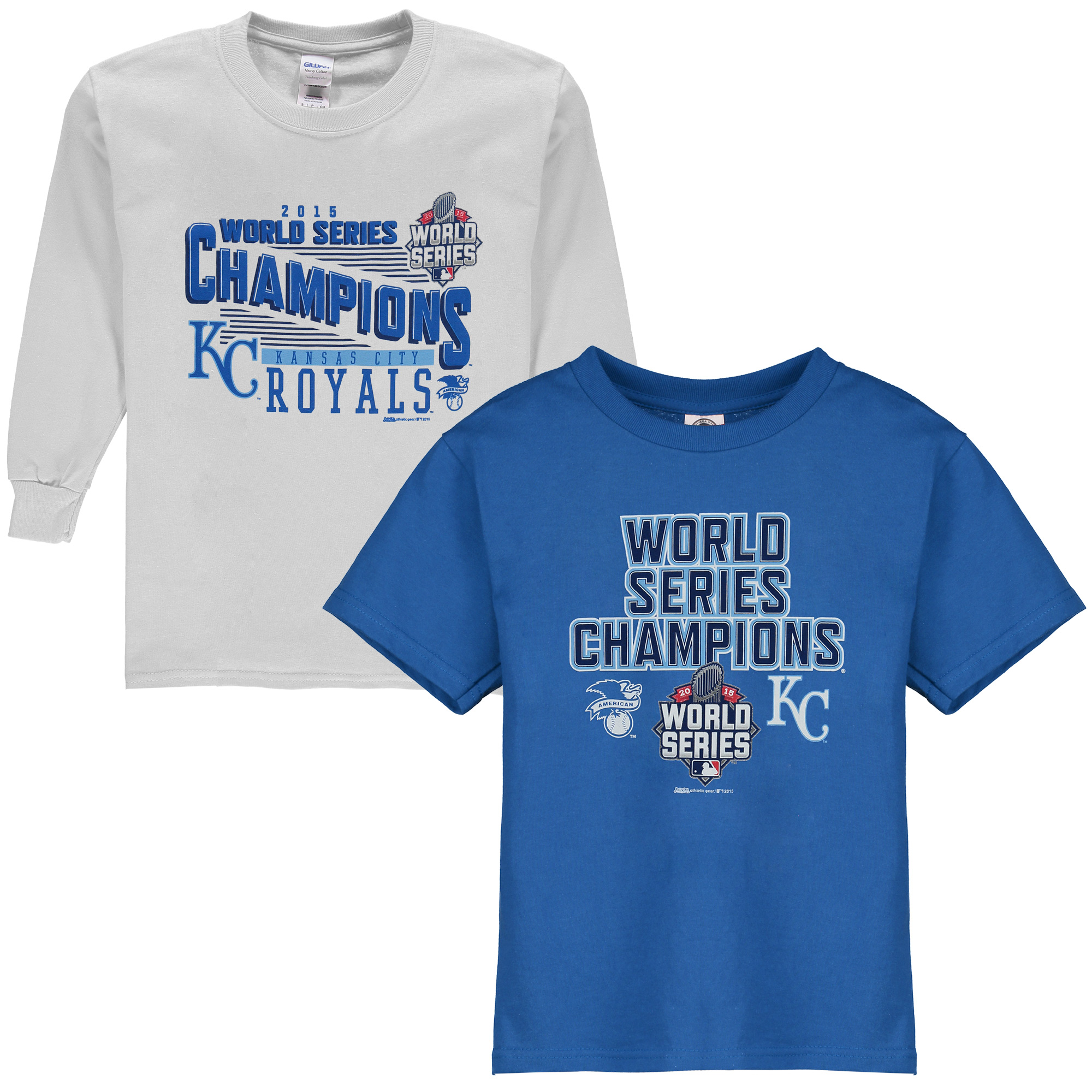 Kansas City Royals Stitches Youth 2015 World Series Champions 3-in-1 Combo T-Shirt Set - Royal - Yth L