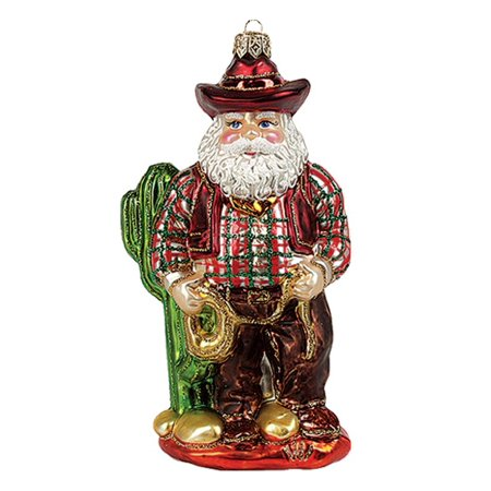 Texas Santa with Lasso Polish Blown Glass Christmas Ornament Tree Decoration Blown Glass Santa Ornament