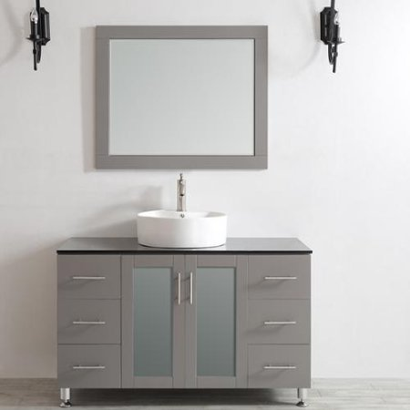 Vinnova Tuscany 48-inch Grey Single Vanity with White Vessel Sink with Glass Countertop with Mirror
