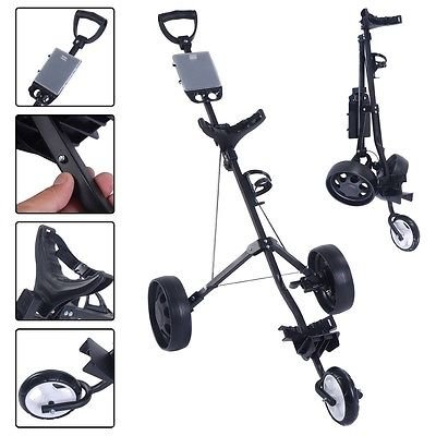 Foldable 3 Wheel Push Pull Golf Cart /Cup Holder Trolley Swivel Steel Light