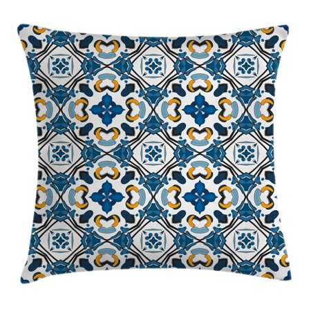 Traditional House Decor Throw Pillow Cushion Cover, Portuguese Ceramic Classic Tilework Church Artisan European Decor, Decorative Square Accent Pillow Case, 16 X 16 Inches, Royal Blue, by Ambesonne (Church Accent)