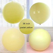 36 inch Pastel Balloons for Parties 5 pcs Macaron Latex Balloons for Birthday Wedding Engagement Anniversary Christmas Festival Picnic or any Friends & Family Party Decorations-pastel yellow