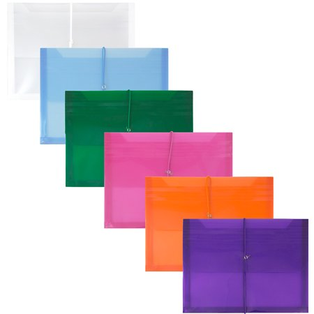 JAM Paper Plastic Expansion Envelopes with Elastic Band Closure - 2 5/8 Expansion - Letter Booklet - 9 3/4 x 2 5/8 x 13 - Assorted Colors - 6/pack