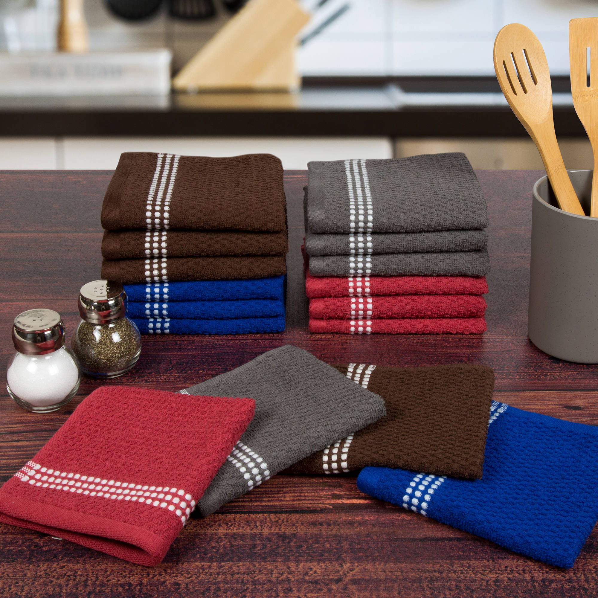 Somerset Home 16 Piece Cotton Popcorn Terry Kitchen Towel Washcloth Set