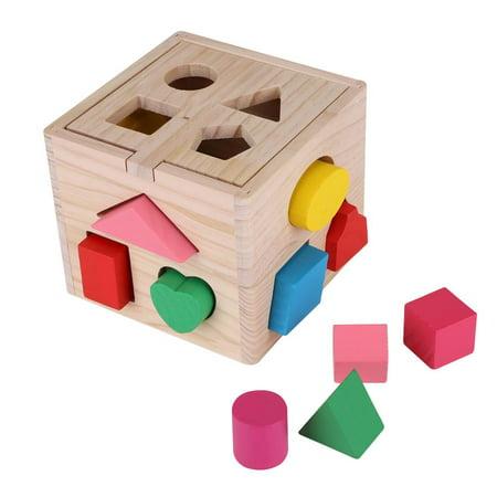 Ccdes Jouet éducatif géométrique, blocs de construction en bois, jeu intellectuel pour bébé de 13 trous de construction de blocs intellectuels - image 1 de 8