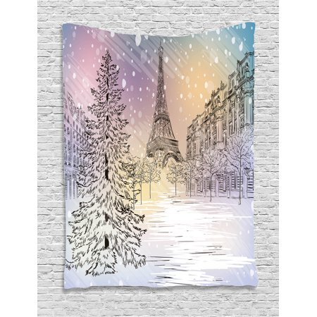 (Winter Decorations Tapestry, Image of Stormy Winter Day in Paris Streets Eiffel Tower Europe Scene, Wall Hanging for Bedroom Living Room Dorm Decor, 40W X 60L Inches, Pink White, by Ambesonne)