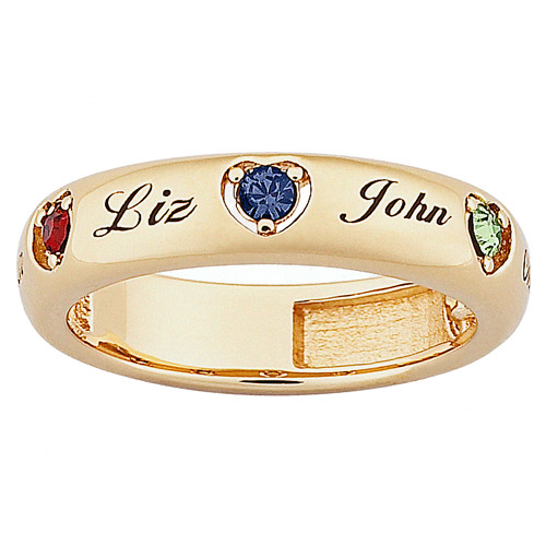 Personalized Mothers Name and Birthstone 18kt Gold over Sterling Silver Band