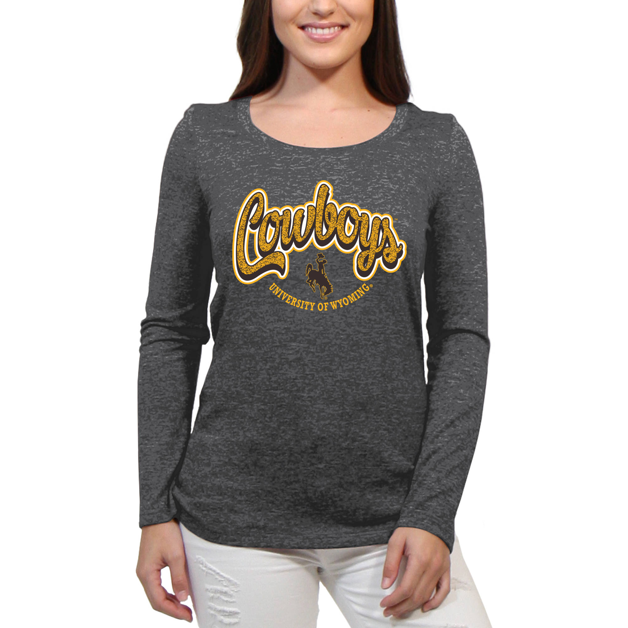 Wyoming Cowboys Funky Script Women'S/Juniors Team Long Sleeve Scoop Neck Shirt