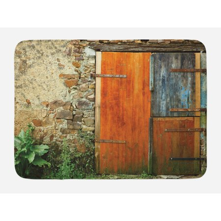 Shutters Bath Mat, Old Fashion Country House French Entrance Stone Wall Farmhouse Picture Print, Non-Slip Plush Mat Bathroom Kitchen Laundry Room Decor, 29.5 X 17.5 Inches, Orange Green, Ambesonne ()