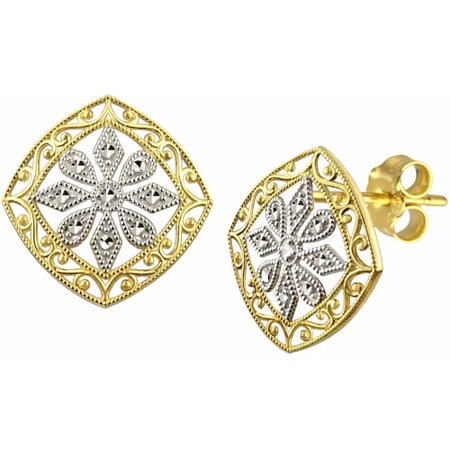 US GOLD 10kt Gold Vintage Filigree Stud Earrings