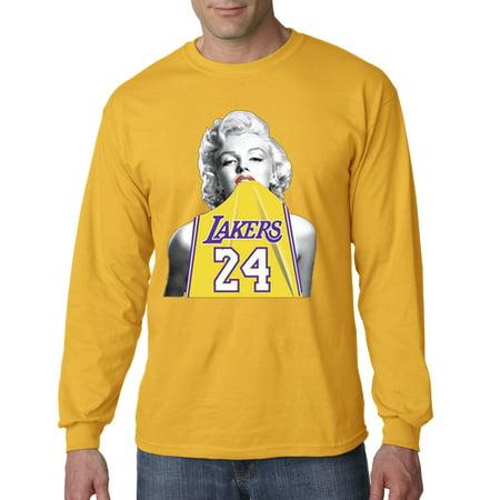 on sale 6d759 a9055 Trendy USA 412 - Unisex Long-Sleeve T-Shirt Marilyn Monroe Lakers 24 Kobe  Bryant Jersey Medium Gold