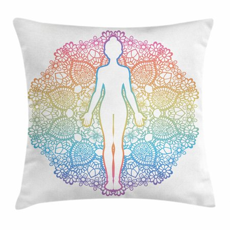 Rainbow Mandala Throw Pillow Cushion Cover, Yoga Themed Meditating Woman Outline with Mandala Patterned Background, Decorative Square Accent Pillow Case, 18 X 18 Inches, Multicolor, by Ambesonne