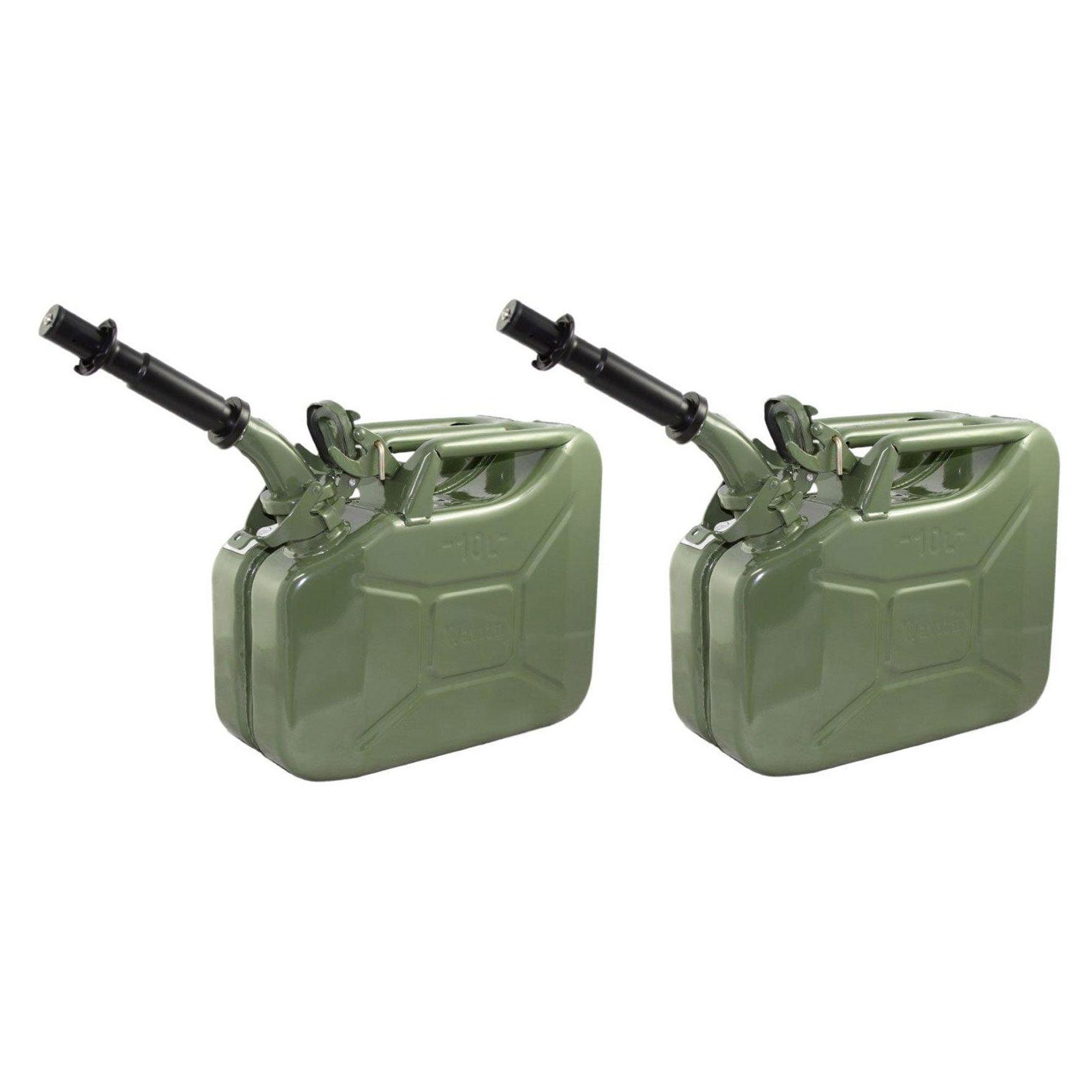 2 Pack Wavian 3013 2.6 Gal 10L Steel Gasoline Fuel Jerry Cans w/ Spout, Green