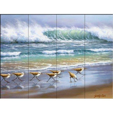Ceramic Tile Mural - Piper Wave- by Sung Kim - Kitchen backsplash / Bathroom