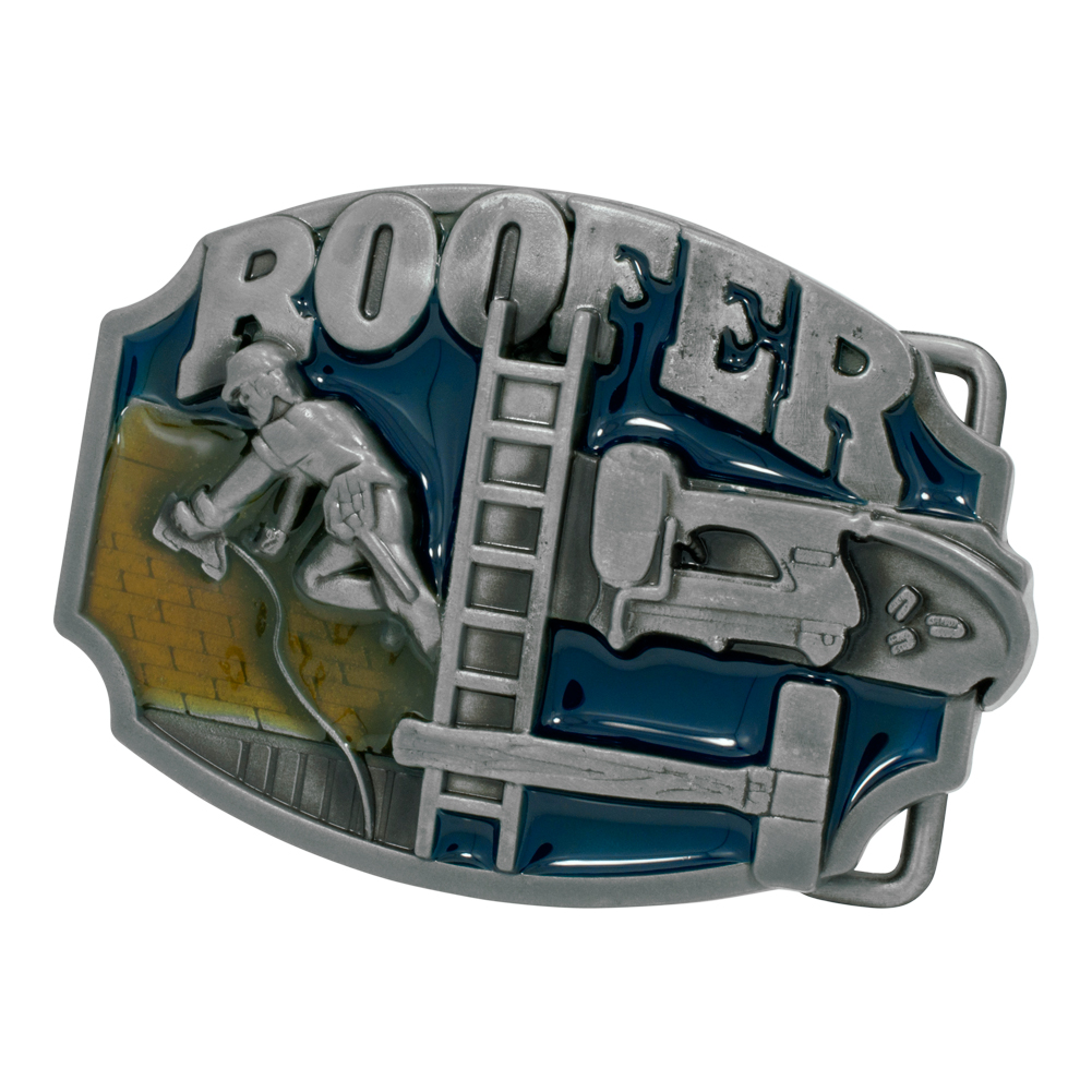 Buckle Rage Roofer Construction Trade Tradesman Union Belt Buckle, BLUE, 298