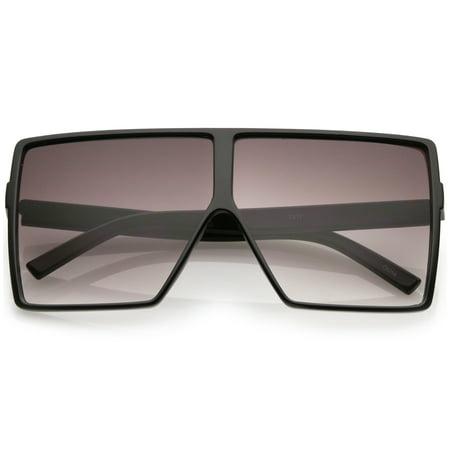 Super Oversize Square Sunglasses Flat Top Neutral Color Flat Lens 69mm (Black / (Super Sunglasses Flat Top Large)