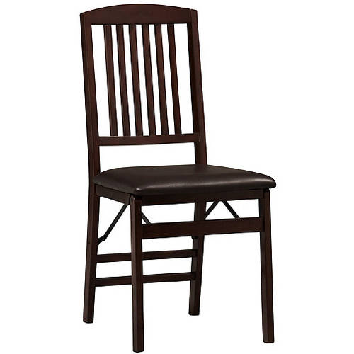 Linon Triena Mission Back Vinyl Folding Dining Chair in Espresso (Set of Two)