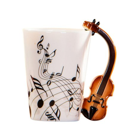 Guitar Ceramic Cup Personality Music Note Sensitive Mug Cup Coffee Tea Milk Cup Unique Gift Home