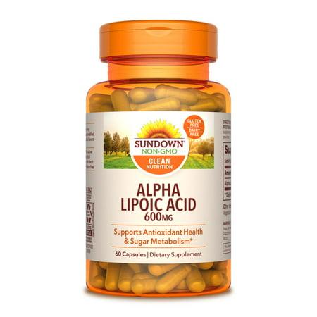 Sundown Naturals Super Alpha Lipoic Acid Dietary Supplement Capsules, 600mg, 60 count