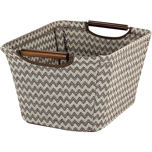 Household Essentials Small Tapered Storage Bin with Wood Handles, Brown Chevron