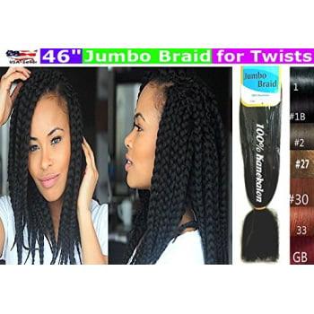 100% Kanekalon Braiding Hair, Jumbo Braiding Hair, KK Braiding hair, Jumbo Braiding Hair, Braids Hair Extensions for Twists, 3 packs (3 Packs, 1 Jet Black)