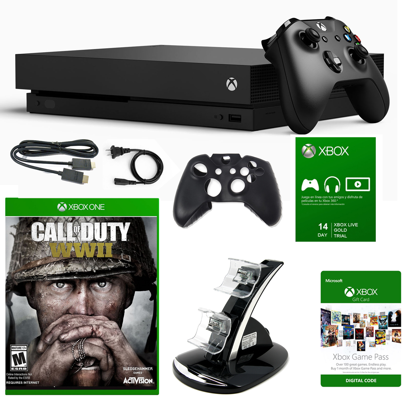 Xbox One X 1TB Console with COD WWII and Accessories by Xbox