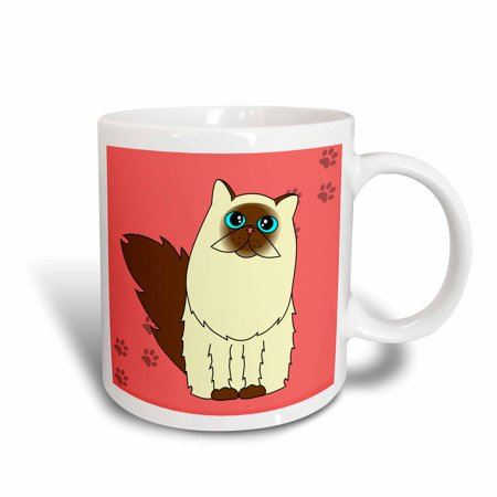 3dRose Himalayan Long-haired / Persian Cat Paw-print, Ceramic Mug,